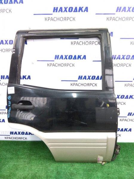 Дверь Nissan Mistral R20 задняя правая черн./серебро б/стекла