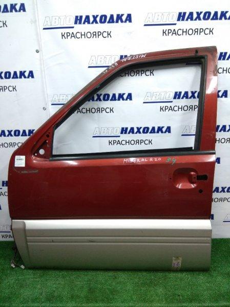 Дверь Nissan Mistral R20 TD27BT передняя левая 0 бордо/серебр, б/стекла и ручки и петель