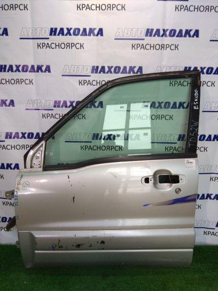 Дверь Suzuki Escudo TL52W передняя левая серебро/4-дв/подмята/ б/ручки внеш и внутр