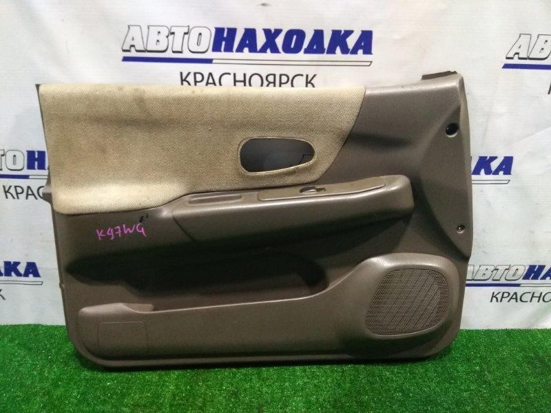 Обшивка двери Mitsubishi Challenger K97WG 4M40 1996 передняя левая MR763662 FL c кнопкой с/подъемника