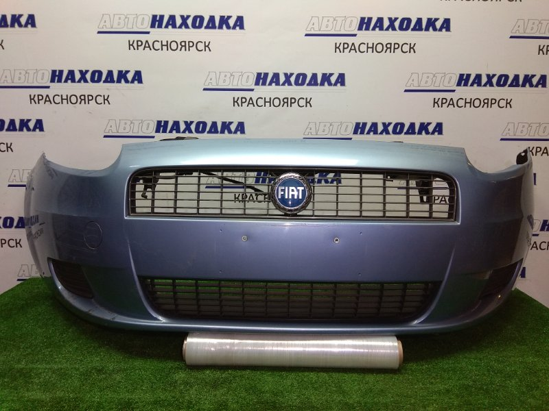 Бампер Fiat Punto 2005 передний передний, 1 модель, голубой, с заглушками и решеткой