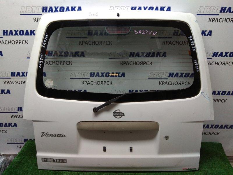 Дверь задняя Nissan Vanette SK82VN 1999 задняя в сборе, белый, грузовая, низкая крыша, вмятины,