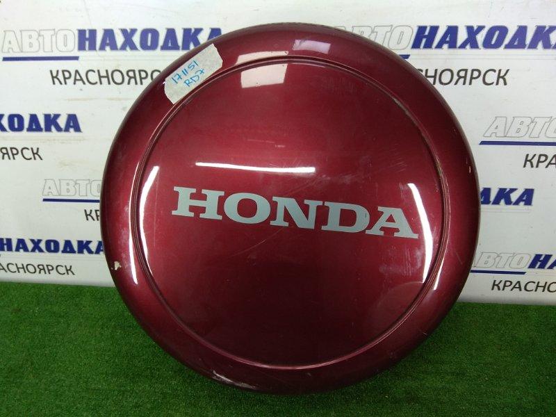 Кожух запасного колеса Honda Cr-V RD7 2001 жёсткий, пластиковый чехол вишнёвого цвета,