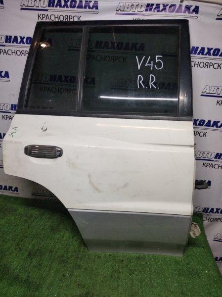 Дверь Mitsubishi Pajero V45W 6G74 задняя правая RR белая