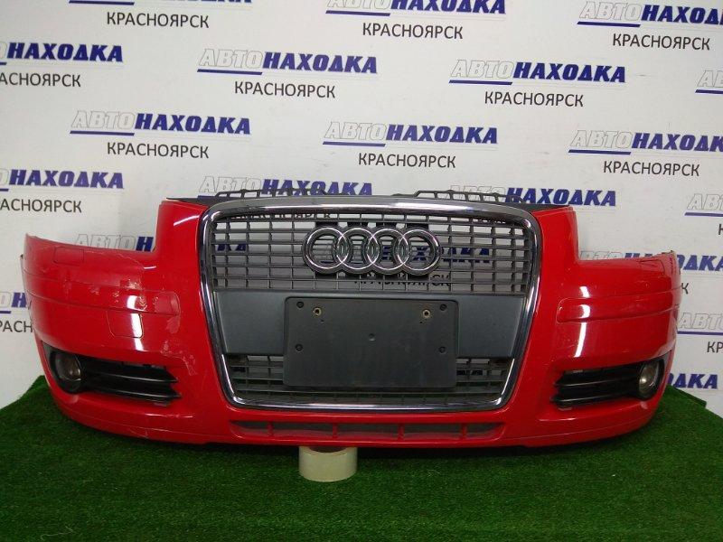 Бампер Audi A3 8P1 BKD 2004 передний 8p4807096 передний, 2 модель, красный, с решеткой (хром ХТС), с