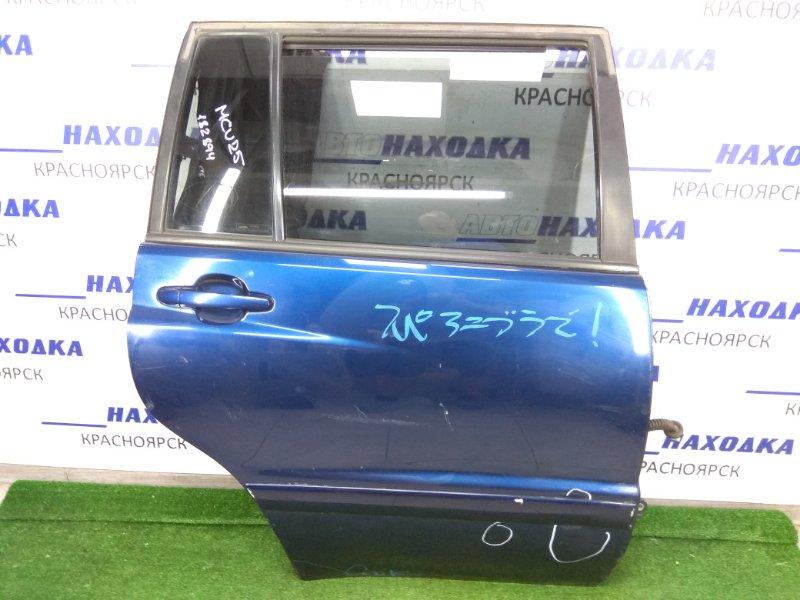 Дверь Toyota Kluger MCU20W 1MZ-FE 2000 задняя правая Задняя правая, синяя, в сборе. вмятины.