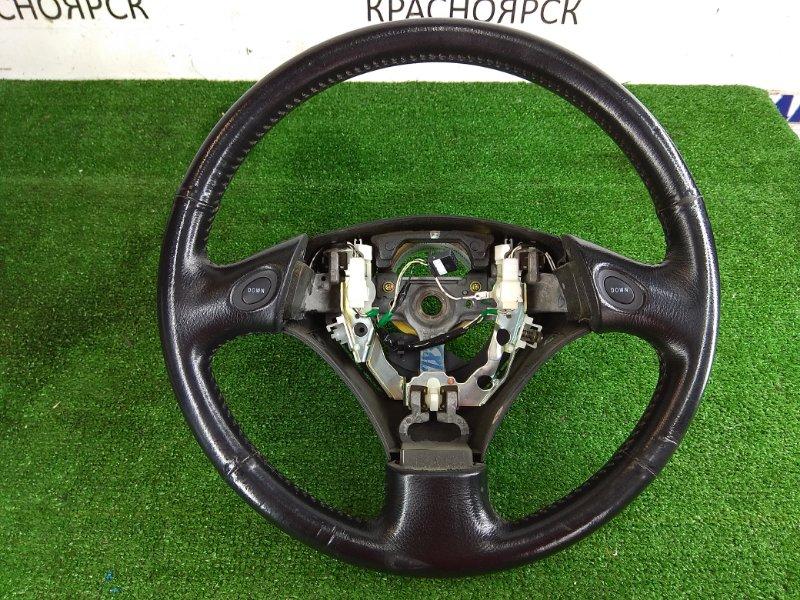 """Руль Toyota Kluger MCU25W 1MZ-FE 2000 Без заглушки и Airbag, черный, кожа, 3 спицы, с доп. кнопками """"UP"""""""