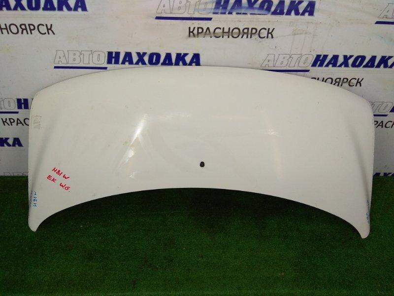 Капот Mitsubishi Ek Wagon H81W 3G83 2001 Белый, ЛКП в хорошем состоянии.