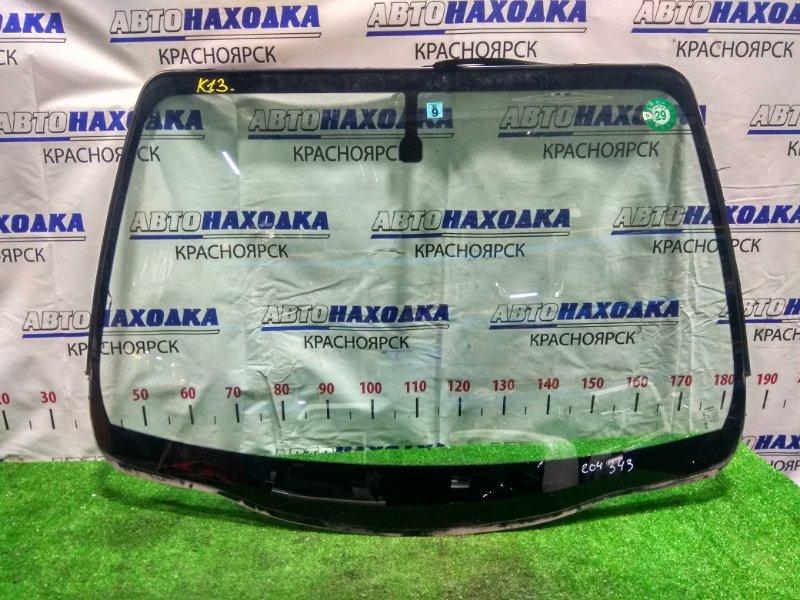 Стекло лобовое Nissan March K13 HR12DE 2010 переднее Б/У, оригинальное, заводское, в хорошем