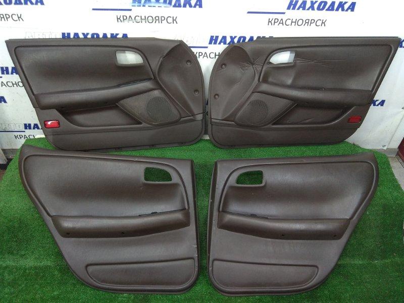 Обшивка двери Toyota Cresta GX90 1G-FE 1992 комплект 4 штуки, коричневые, небольшие дефекты ( на