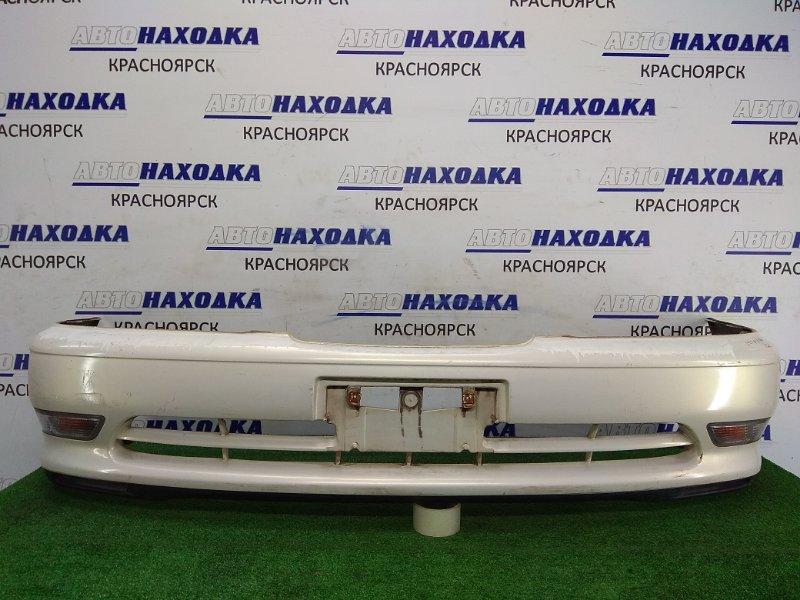 Бампер Toyota Cresta JZX100 1JZ-GE 1996 передний 52119-2A010 Передний, 1 модель, белый перламутр, туманки