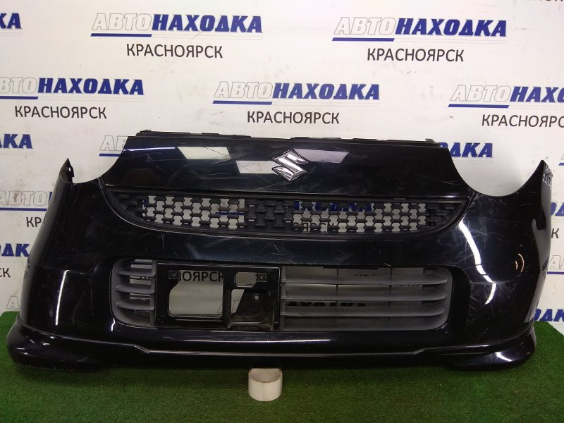 Бампер Suzuki Mr Wagon MF22S K6A 2006 передний 71711-81J Передний, 1 модель, черный, с губой, потертости,