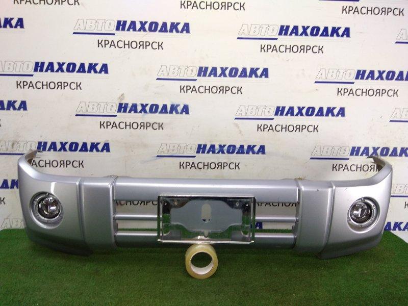 Бампер Nissan Kix H59A 4A30 2008 передний Передний, серебро, из 3-х частей, туманки (0894), почти ХТС,