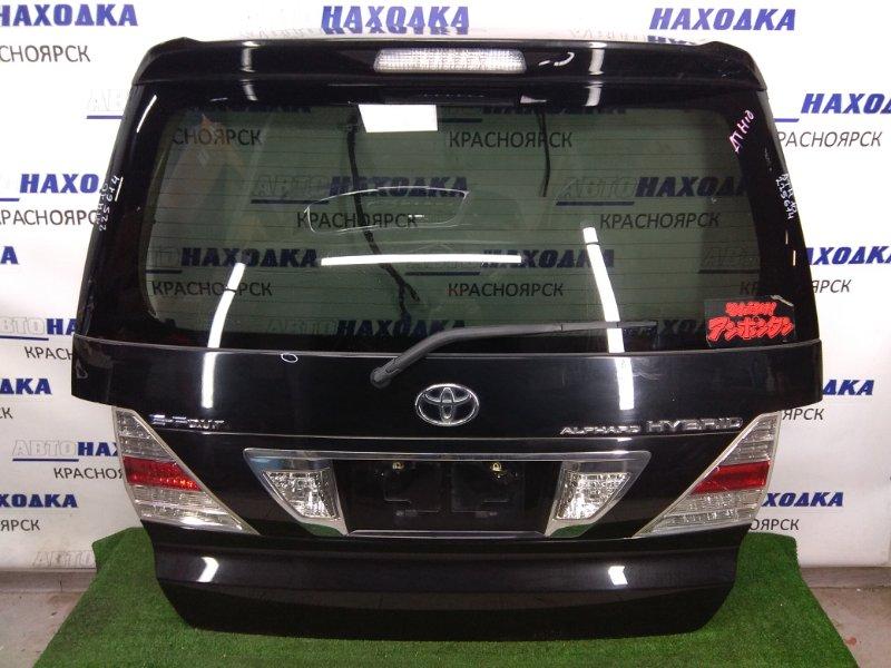 Дверь задняя Toyota Alphard ATH10W 2AZ-FXE 2002 задняя задняя, HYBRID, черная (209), фонари (58-12), хром ОК,