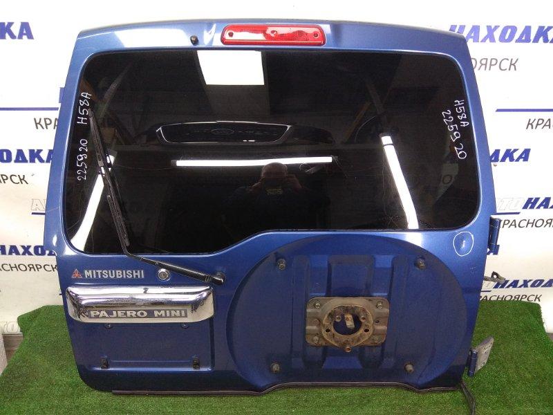 Дверь задняя Mitsubishi Pajero Mini H58A 4A30 1998 задняя задняя, синяя (код D0AA), с хром. накладной и