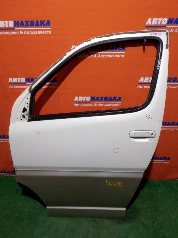 Дверь Toyota Granvia VCH10W передняя левая FL бел-серая без стеклоподъемника