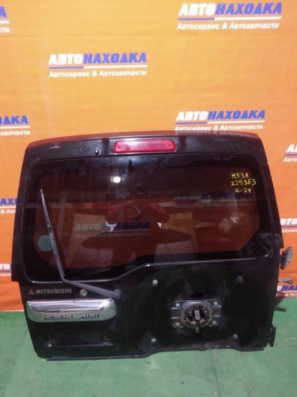 Дверь задняя Mitsubishi Pajero Mini H53A 4A30 1998 задняя хтс +дворник+мотор дворника+замок+петли,