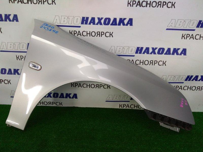 Крыло Saab 9-3 YS3F B207E 2002 переднее правое ХТС, правое, с клипсой, с повторителем, серебро,