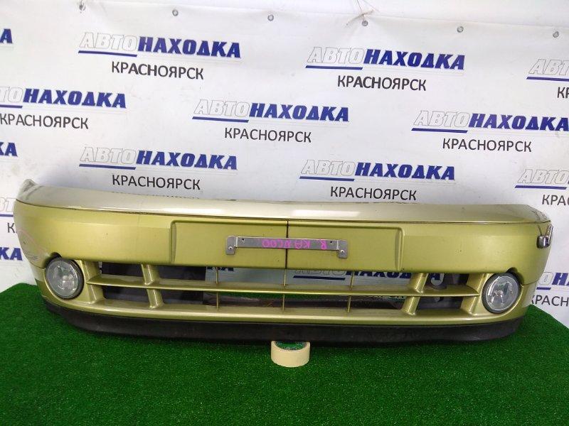 Бампер Renault Kangoo KC K4M 2003 передний передний, 2 модель, зеленый (TED99), c туманками, под