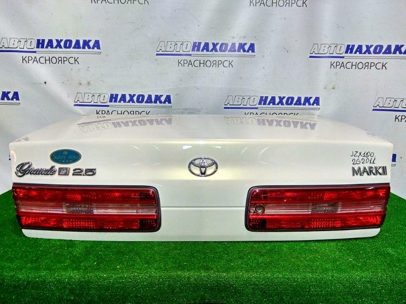 Крышка багажника Toyota Mark Ii JZX100 1JZ-GE 1996 задняя В сборе. Цвет 057. 1 мод. Есть пара вмятинок.