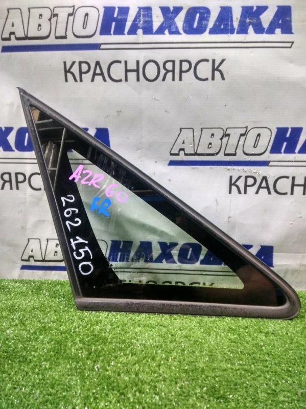 Стекло боковое Toyota Voxy AZR60G 1AZ-FSE 2001 переднее правое FR, уголок в кузов, с молдингом.