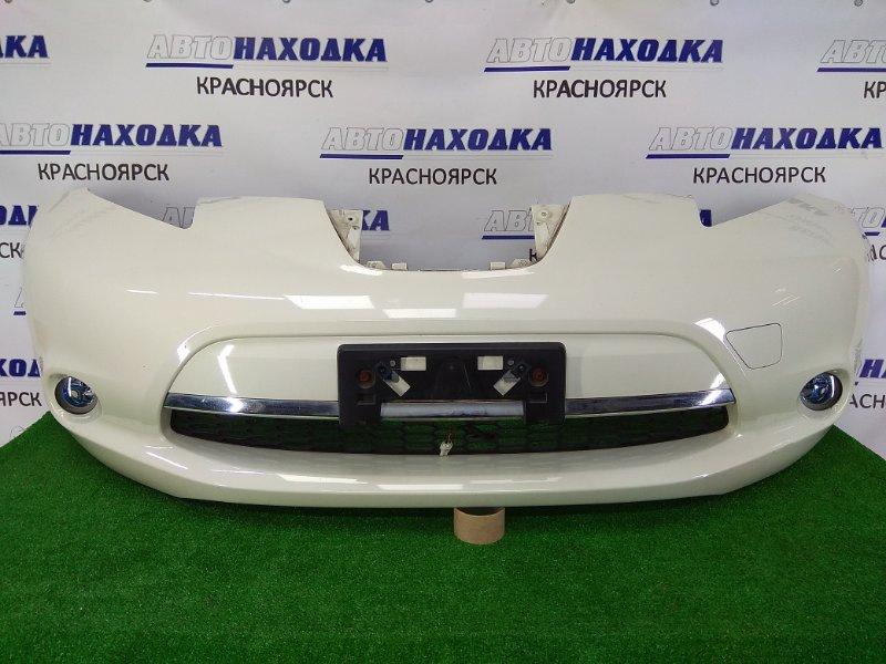 Бампер Nissan Leaf ZE0 EM61 2009 передний передний, белый перламутр (QX1), с туманками, хром ОК,