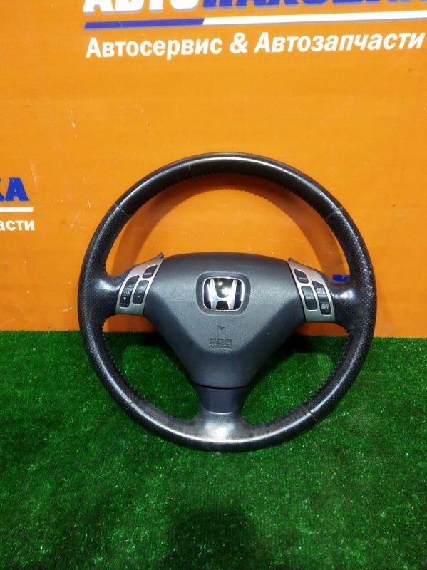 Руль Honda Accord CL9 K24A 2002 мульти руль, кожа есть потертости +заглушка без заряда