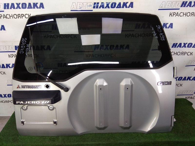 Дверь задняя Mitsubishi Pajero Io H76W 4G93 1998 задняя в целом ХТС, в сборе, серая (A71D), метла, без