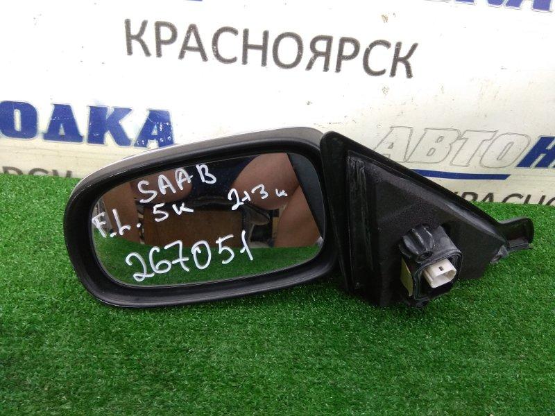Зеркало Saab 9-3 YS3F B207E 2002 переднее левое левое, 2+3 контакта, серое, правый руль, потертости