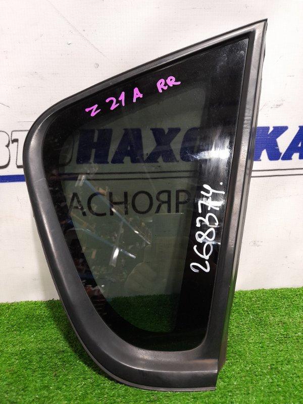 Стекло собачника Mitsubishi Colt Z21A 4A90 2002 заднее правое RR, с молдингом, тонировка заводская