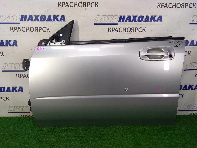 Дверь Subaru Impreza GG2 EJ15 2000 передняя левая передняя левая, серая (01G), без личинки, вмятинки,
