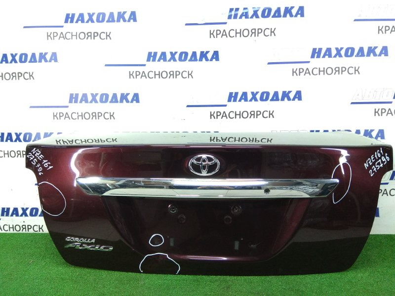 Крышка багажника Toyota Corolla Axio NZE161 1NZ-FE 2012 задняя бордовая, вмятины, хром ОК, камера