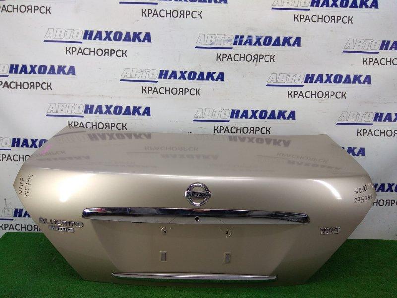 Крышка багажника Nissan Bluebird Sylphy QG10 QG18DE 2003 задняя ХТС, 2 модель, бежевая (EV0), камера, хром