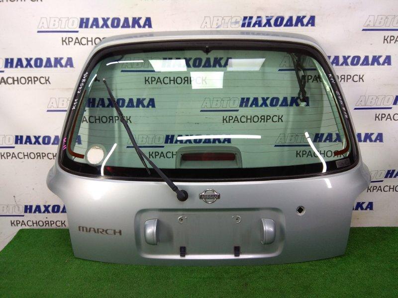 Дверь задняя Nissan March HK11 CG13DE 1997 задняя в сборе, серая (FL0), метла, внешняя сторона ХТС,