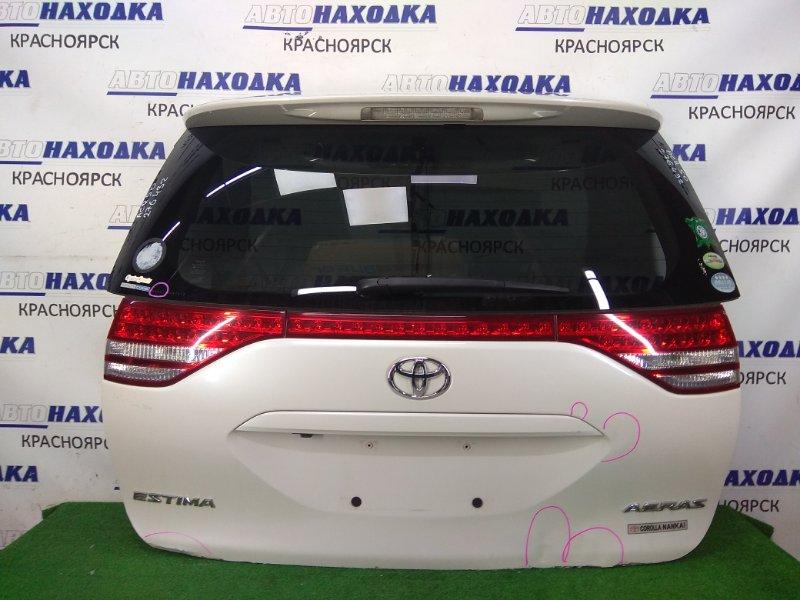 Дверь задняя Toyota Estima ACR50W 2AZ-FE 2006 задняя в сборе, белый перламутр (070), с фонарями (28-194),