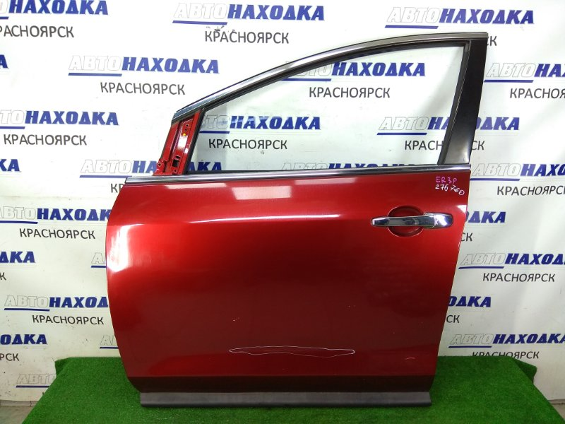 Дверь Mazda Cx-7 ER3P L3-VDT 2006 передняя левая передняя левая, бордовая (32V), без стекла, следы