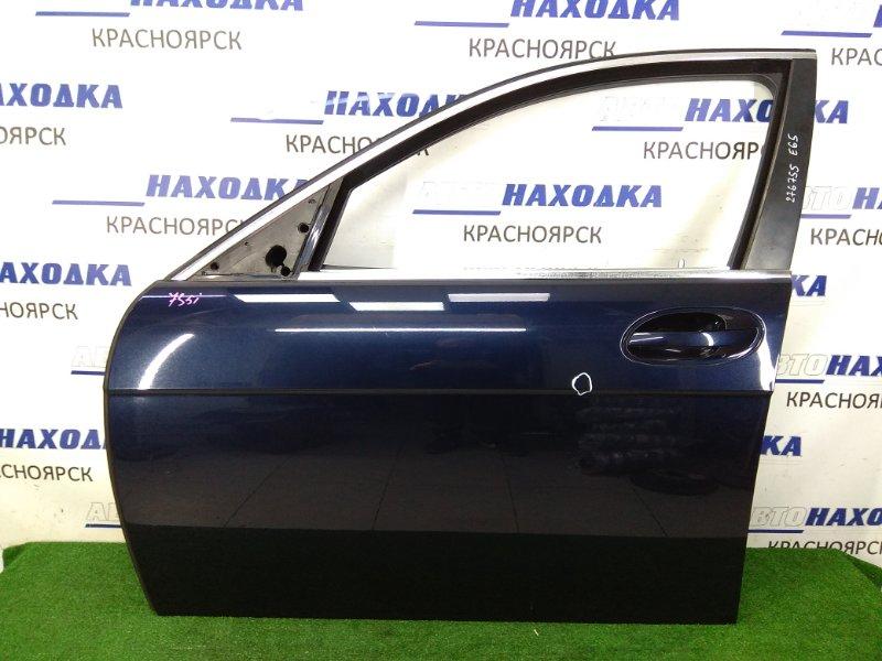 Дверь Bmw 735I E65 N62B36 2001 передняя левая передняя левая, в сборе, синяя (317), с подушкой, без