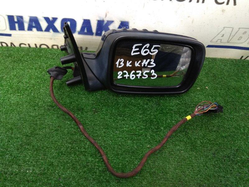 Зеркало Bmw 735I E65 N62B36 2001 переднее правое правое, синее (317), 13 контактов, потертости,