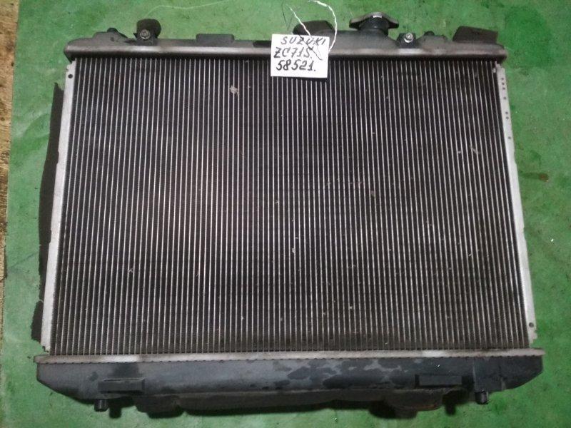 Радиатор двигателя Suzuki Swift ZC71S K12B 2004 В сборе с диффузором и вентилятором, без