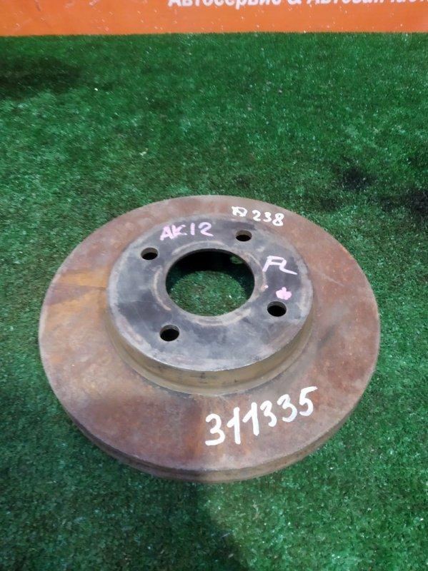 Диск тормозной Nissan March AK12 CR12DE 2002 передний 238ММ