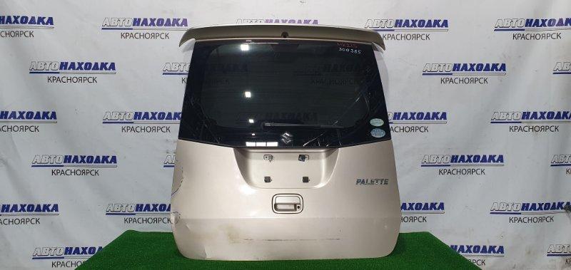 Дверь задняя Suzuki Palette MK21S K6A 2008 задняя в сборе, со спойлером, угол замят, есть вмятина,