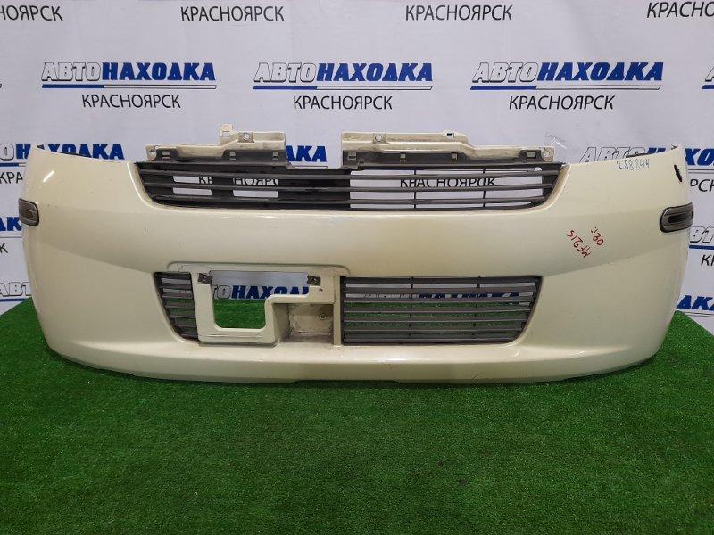Бампер Suzuki Mr Wagon MF21S K6A 2001 передний Передний, с решетками, есть отверстие под антену,