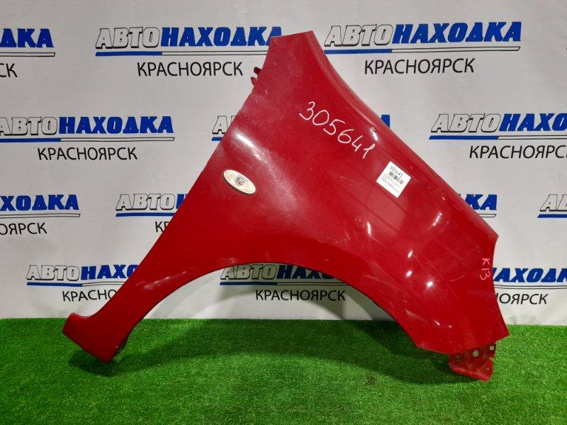 Крыло Nissan March K13 HR12DE 2010 переднее правое переднее правое, красное, с повторителем,