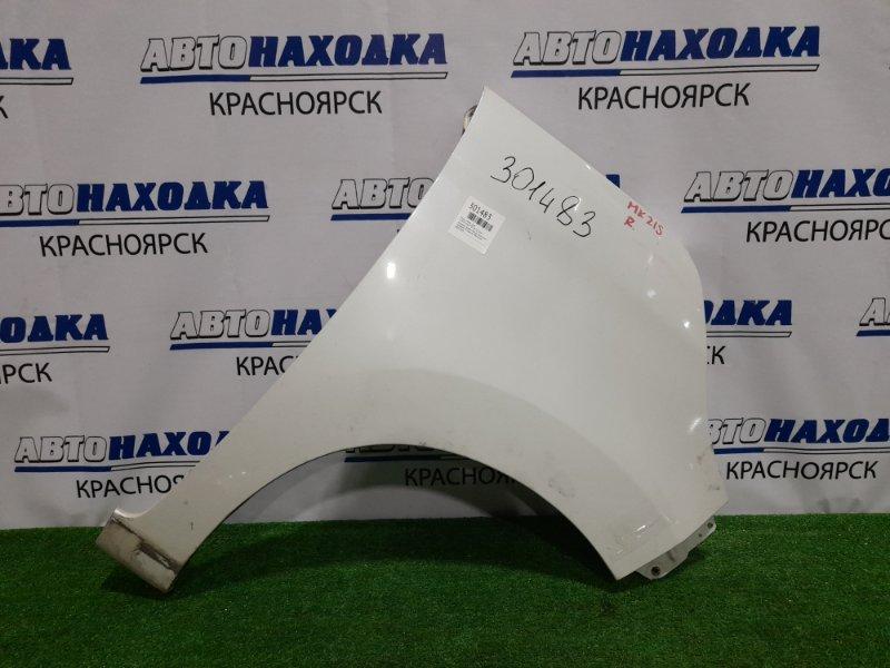 Крыло Suzuki Palette MK21S K6A 2008 переднее правое переднее правое, белый перламутр, с торцевой