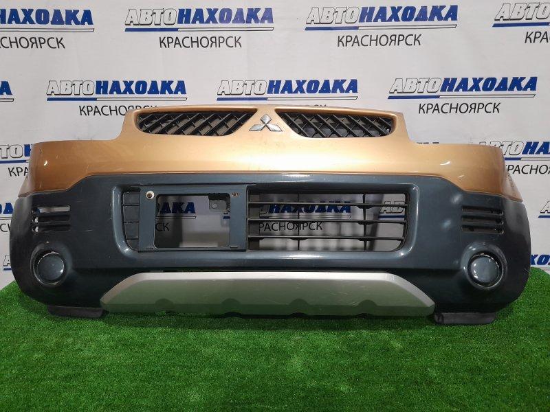 Бампер Mitsubishi Ek Wagon H81W 3G83 2004 передний 6400A178YA Передний, с решеткой, рестайлинг, пошоркан.