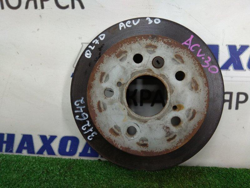 Диск тормозной Toyota Camry ACV30 2AZ-FE 2001 задний задний, невентилируемый, диаметр 260 мм
