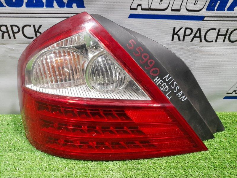 Фонарь задний Nissan Cima GF50 VK45DE 2008 задний левый 4986 левый, 2-й рестайлинг, 4986, трещина на