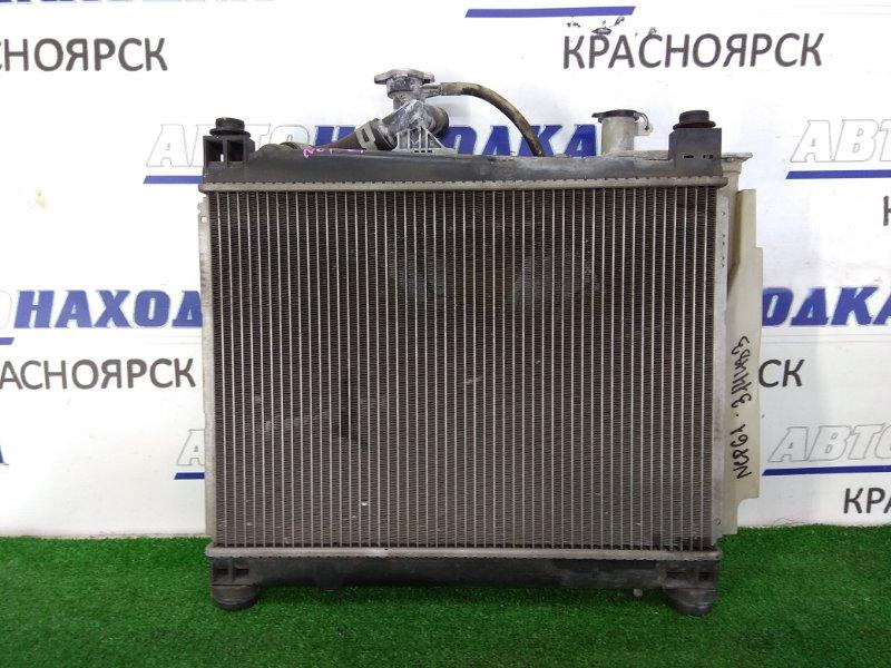 Радиатор двигателя Toyota Ist NCP61 1NZ-FE 2002 в сборе, с диффузором, вентилятором и заливной