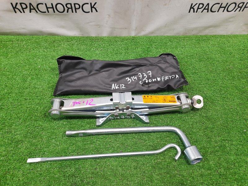 Домкрат Nissan March AK12 CR12DE 2007 Грузоподъемность 700 кг с ручкой, ключом на 19