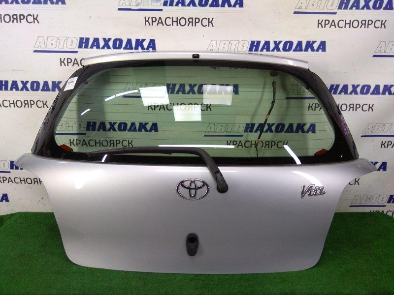 Дверь задняя Toyota Vitz SCP10 1SZ-FE 1999 задняя ХТС, в сборе, серая (199), без личинки под ключ